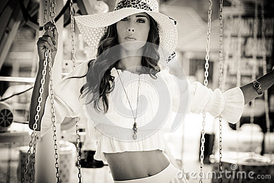 Summer woman in bw