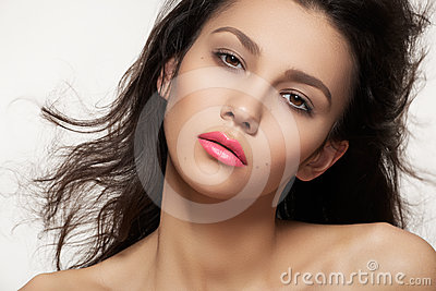 Summer woman with fashion make-up, neon pink lips