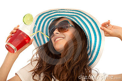 Summer woman with hat and a drink