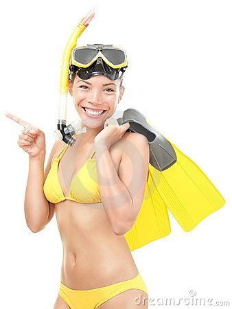 Free Summer Woman With Snorkeling Mask And Flippers Stock Photo - 19305960