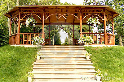 Summer wooden arbour