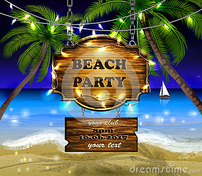 Summer wooden sign on tropical beach background Vector Illustration