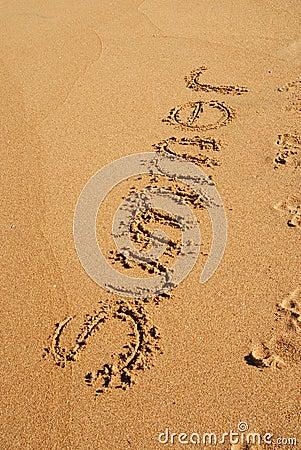 SUMMER word written on the sand