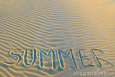 Summer written in sand