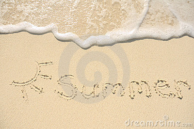 Summer Written in Sand on Beach