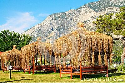 Summerhouses near big mountains.