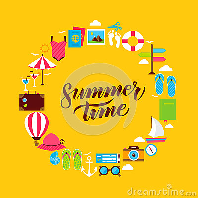 Summertime Flat Circle Vector Illustration
