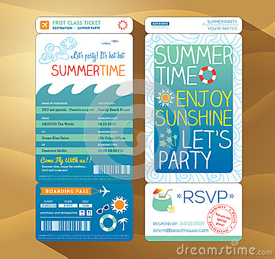 Free Summertime Holiday Party Boarding Pass Background Stock Images - 41056944