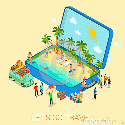 Free Summertime Travel Flat 3d Web Isometric Infographic Concept Royalty Free Stock Photography - 50865627