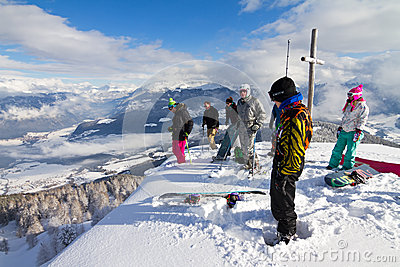 Summit skiers Editorial Image
