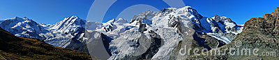 Summits of Monte Rosa (left), Liskamm, Castor