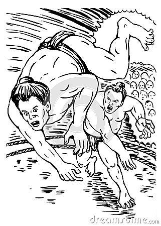 Sumo wrestlers fighting