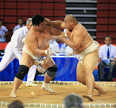 Sumo wrestling in action Editorial Image