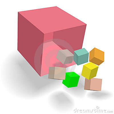 Sumário cúbico da queda 3D dos cubos dos blocos da caixa do Cornucopia