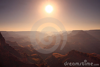 Sun above the Grand Canyon