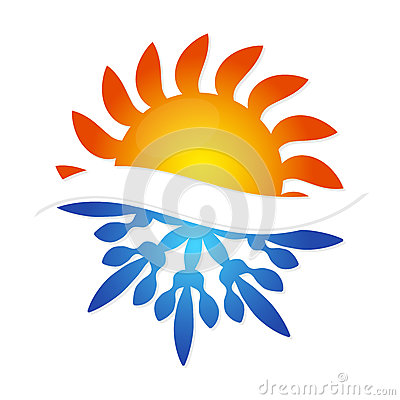 Free Sun And Snowflake Symbol Air Conditioning Stock Images - 79235444
