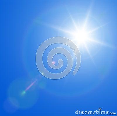 Sun avec l épanouissement de lentille