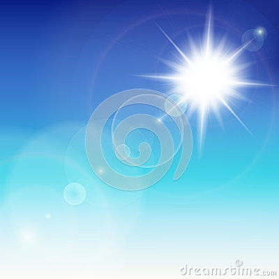 Sun avec l épanouissement de lentille.