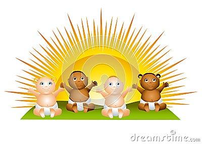 Sun Babies Clip Art Cartoon Illustration