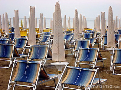 Sun beds and umbrellas closed