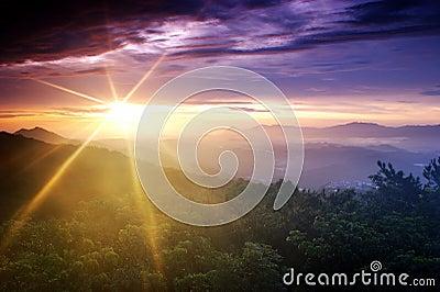 Sun blast is shinning at dawn