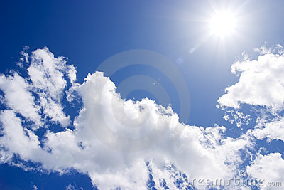 The sun on blue sky