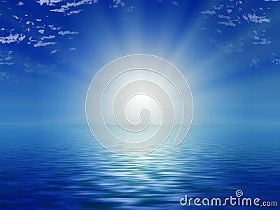 Sun, blue sky and ocean