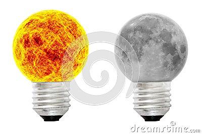 A sun bulb and a lunar bulb
