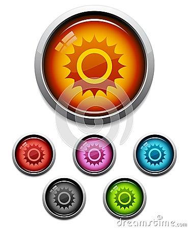 Free Sun Button Icon Royalty Free Stock Photos - 6099198