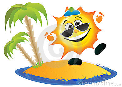 Sun Cartoon On The Beach Stock Image - Image: 8725461