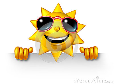 Sun Character Holding A Blank Sign