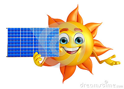 Royalty Free Stock Photography Sun Character With Solar