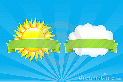 Sun And Cloud With Ribbons