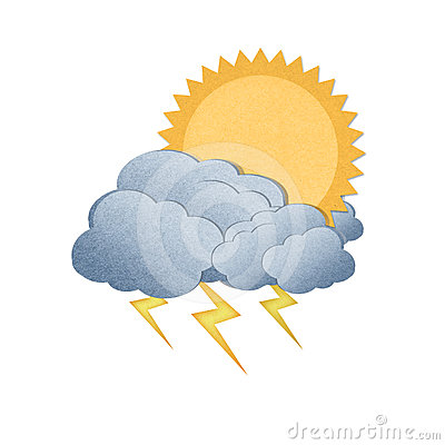 Sun with cloud and thunderbolt on white background