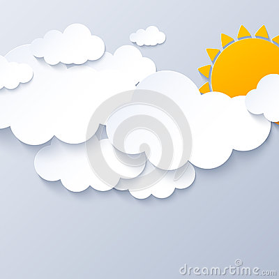 Sun and clouds on gray sky background