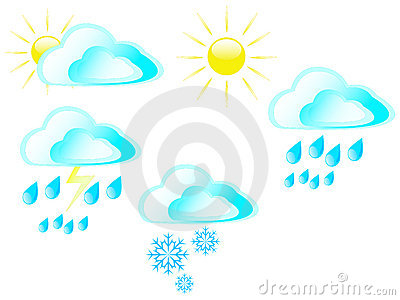Sun clouds rain snow and storms