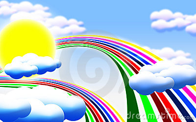Sun clouds rainbow