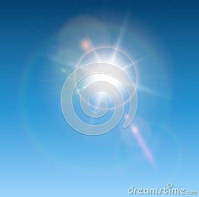 Sun con il chiarore dell obiettivo