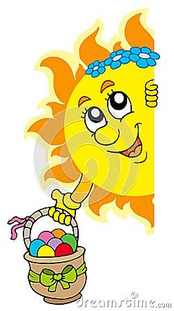 Sun de espreitamento com ovos de Easter