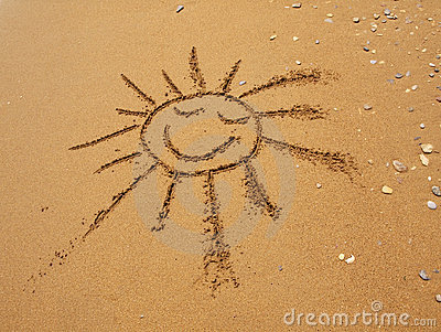 Sun In The Sand Sun Drawn In The Sand Stock