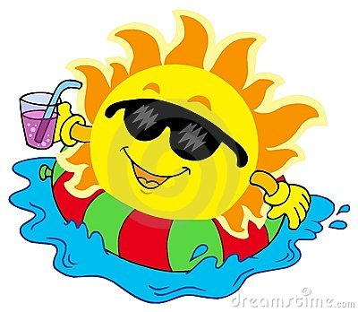Sun with drink in water