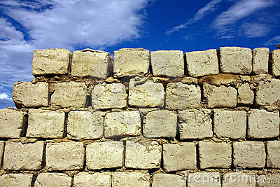 Sun dry mud bricks wall