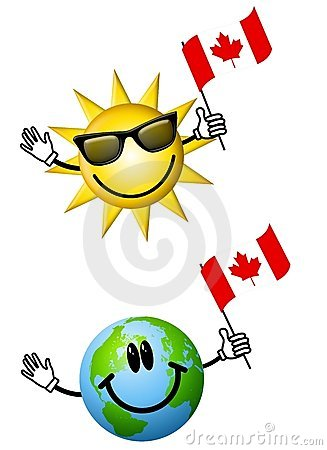Free Sun Earth With Canadian Flags Royalty Free Stock Image - 4662896