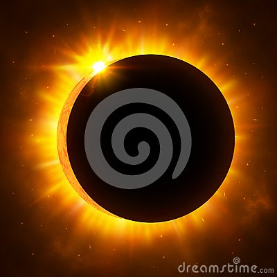 Sun eclipse with corona. Solar eclipse. Bright red star light shine from the edges of a planet. Space background. Vector Illustrat Vector Illustration