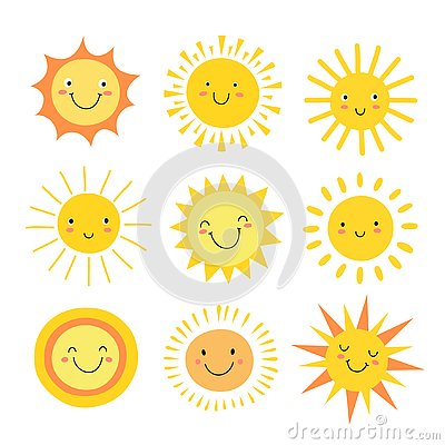 Sun emoji. Funny summer sunshine, sun baby happy morning emoticons. Cartoon sunny smiling faces vector icons Vector Illustration