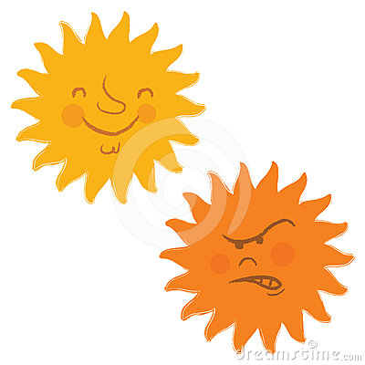 Sun faces retro cartoon vector