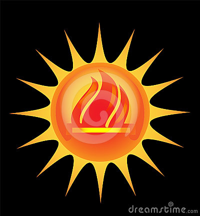 Sun with flames