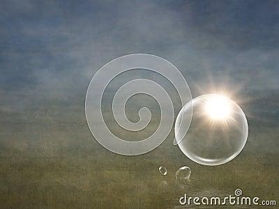 Sun flare in bubble