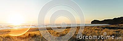 Sun flared beach