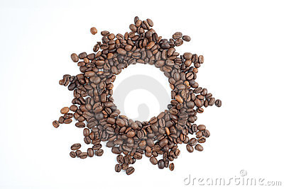 The sun frame from coffee beans